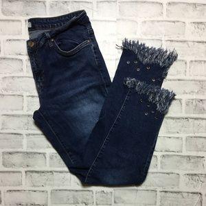 Zara Z1975 raw edge rivet skinny jeans 12